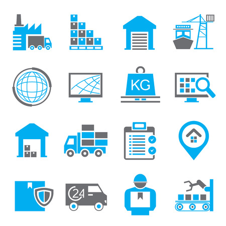 logistics icons, warehouse icons Vettoriali
