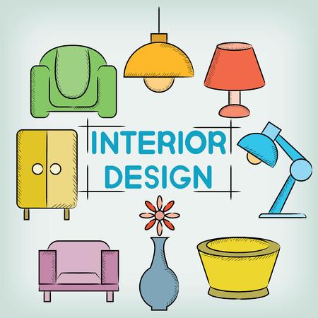 interior design: interior design Illustration