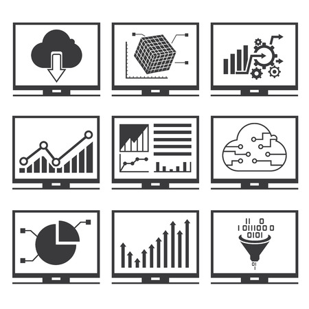 pc icon: data analytics icons Illustration