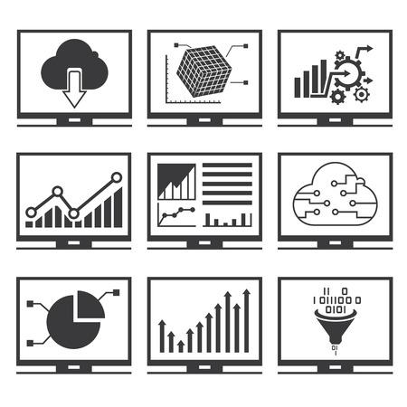 data analytics icons Illustration