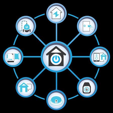 building icon: smart home Illustration