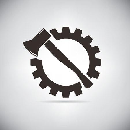 gear symbol: axe and cogwheel Illustration