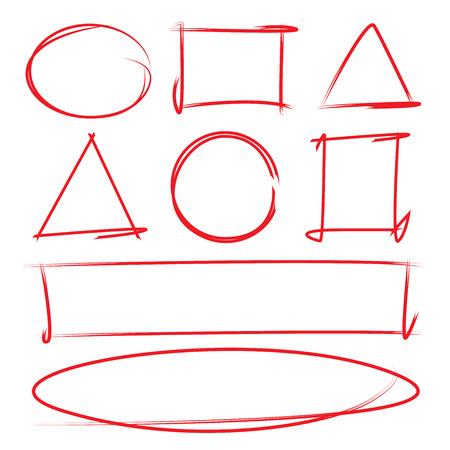 赤の手描きのデザイン要素