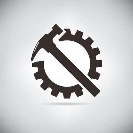 hammers and cogwheel Vettoriali