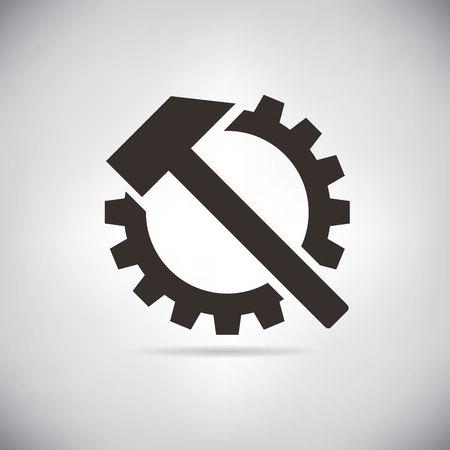 steel mill: hammer and gear Illustration
