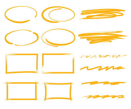 deletion: marker elements, circles, underlines, rectangles Illustration