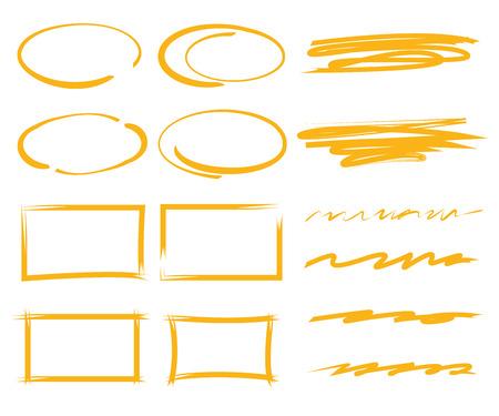 marker elements, circles, underlines, rectangles Illustration
