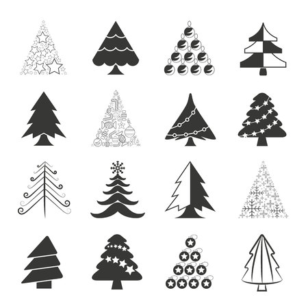 pine tree silhouette: Christmas tree icons