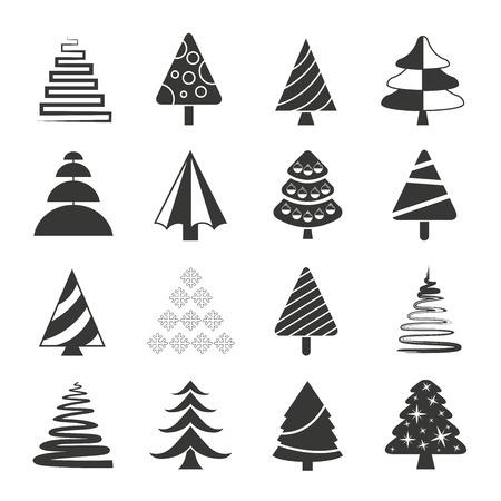 trees illustration: Christmas tree icons