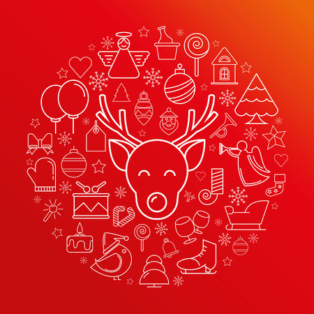 ornaments vector: deer, Merry Christmas Illustration