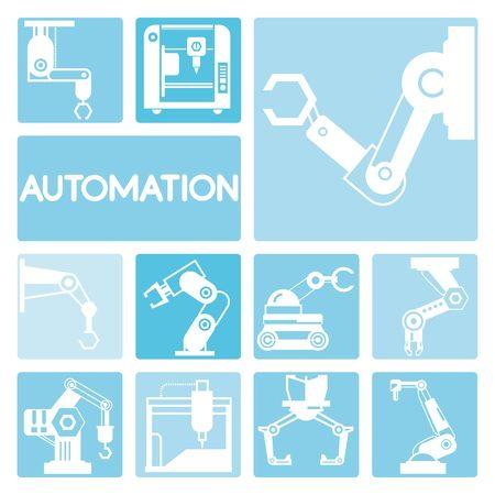 mecanica industrial: iconos robóticos