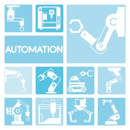human hand: robotic icons Illustration