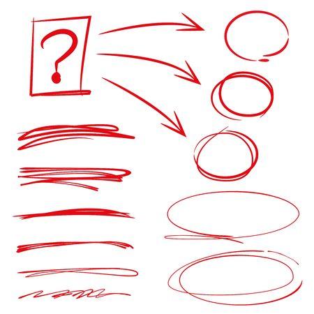 emphasis: highlighter elements, circles, underlines Illustration