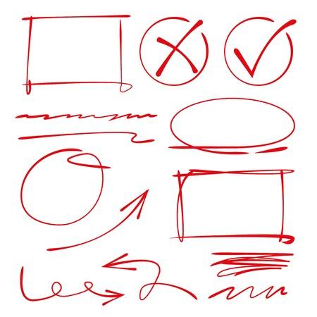 highlight: bubble speech, circle, rectangle border, underline, check mark Illustration