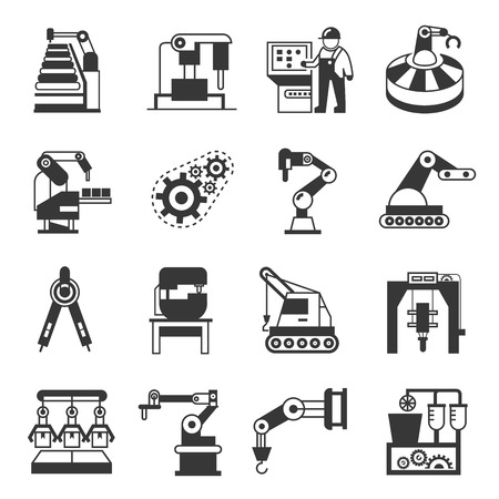 industrial icon: manufacturing icons, robotics icons Illustration