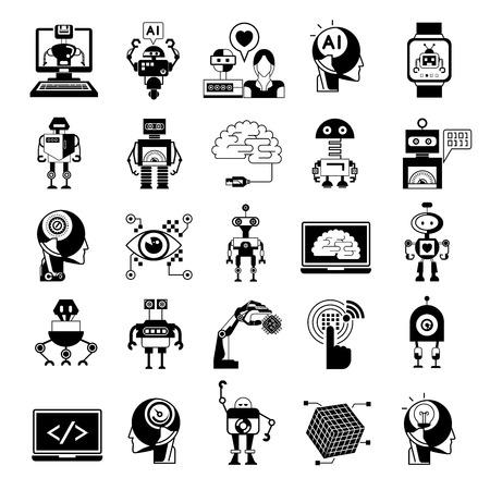 Iconos, iconos de inteligencia artificial del robot Foto de archivo - 50960003