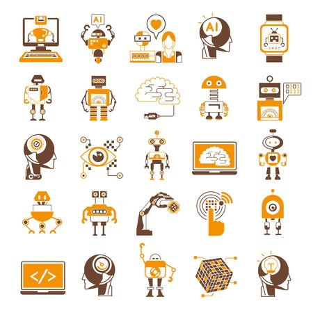 heart intelligence: Artificial Intelligence icons, robot icons