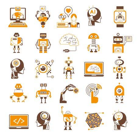 inteligencia: iconos, iconos de la inteligencia artificial del robot