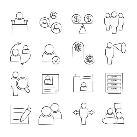 dispensation: business management icons Illustration