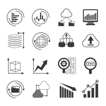 increasing: data analytics icons Illustration