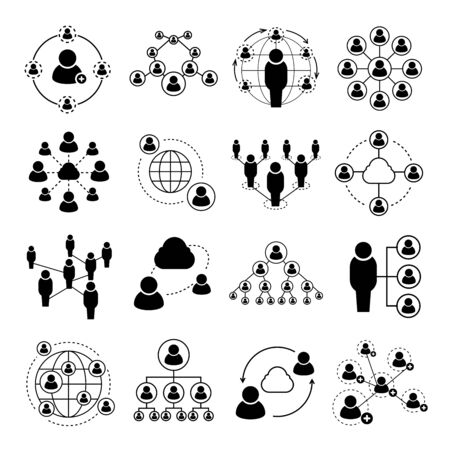 friend chart: people network icons, social media icons, social network icons Illustration