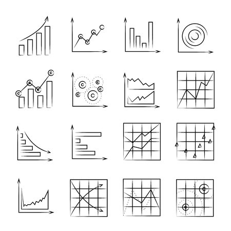 estimation: graph and chart icons, data icons