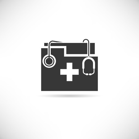 doctors and patient: medical data icon Illustration