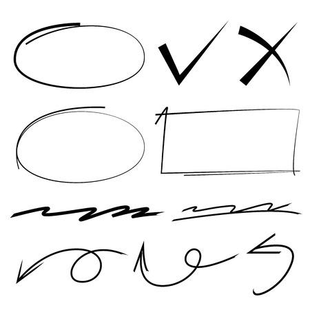 elementi marcatori, evidenziatori, cerchio, rettangolo