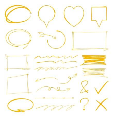 emphasis: circle marker, underline marker, rectangle marker Illustration