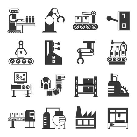 robot vector: robot and manufacturing icons