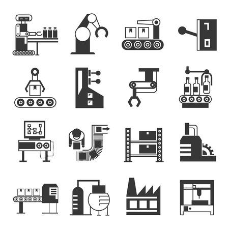 robot de fabricación y los iconos