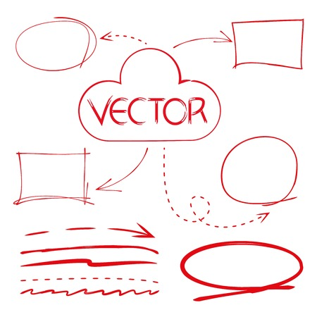 circl: red highlighter elements, red circles, arrows, cloud