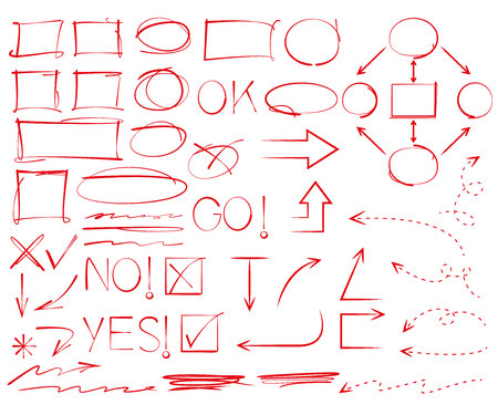 hand drawn circles, frames and arrows