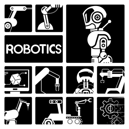 industry icons: robot icons, artificial intelligence