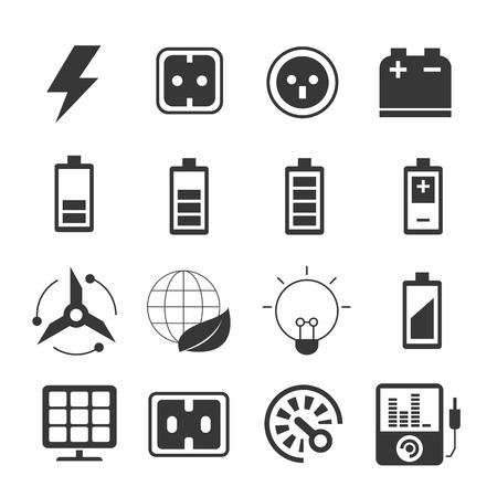 icons: electricity icons, energy icons