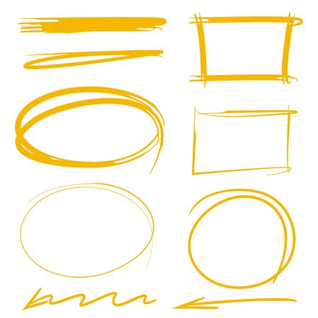 Elementi evidenziatore marcatore rettangolo cerchio, frecce