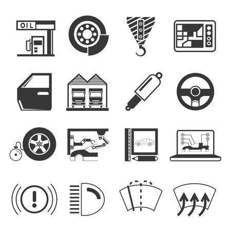 hook up: garage icons, auto service icons