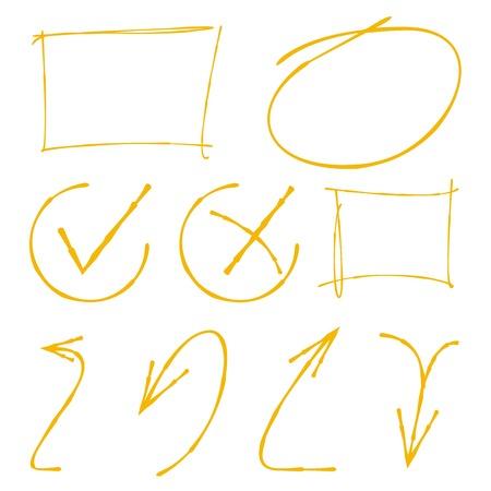 emphasis: highlighter set, check marks, arrows