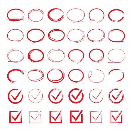 red circle hand drawn set, check mark  イラスト・ベクター素材