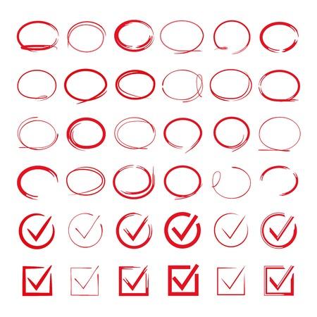 red circle hand drawn set, check mark Illustration