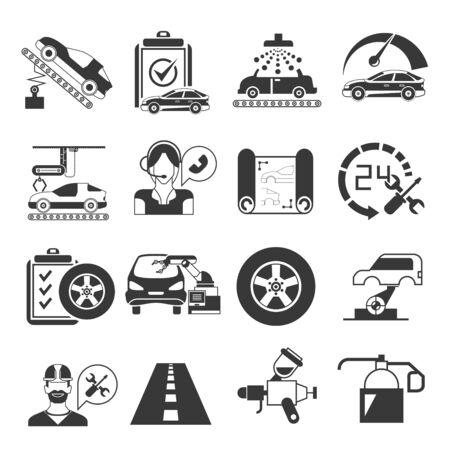 car service: auto service icons, garage icons