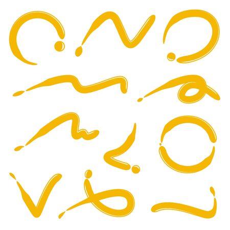 curve penseel lijnen, inkt penseel lijn Vector Illustratie