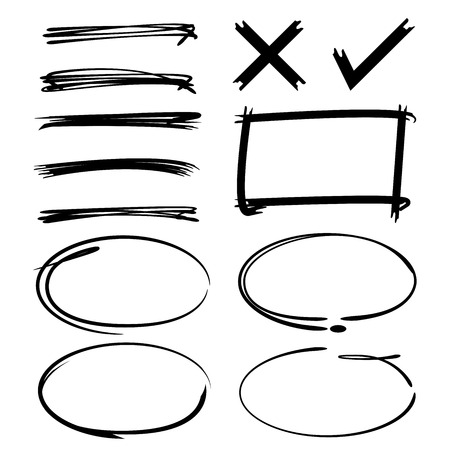 underline: bubble speech, circle, rectangle border, underline, check mark Illustration