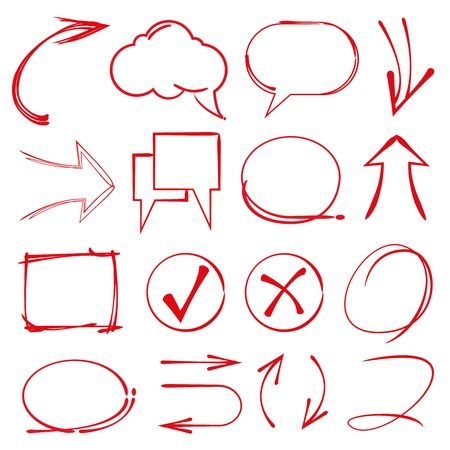 circl: speech bubble, sketch highlighter elements, check mark, arrows