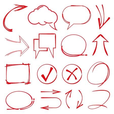circl: speech bubble, sketch highlighter elements, check mark, arrows