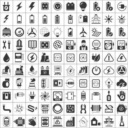engineers: electricity icons Illustration