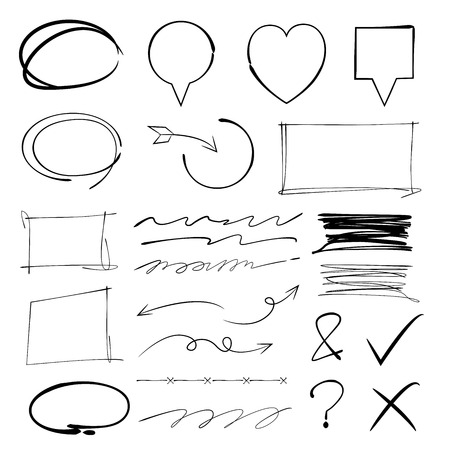 highlights: sketch highlighter elements, circles, arrows, underlines