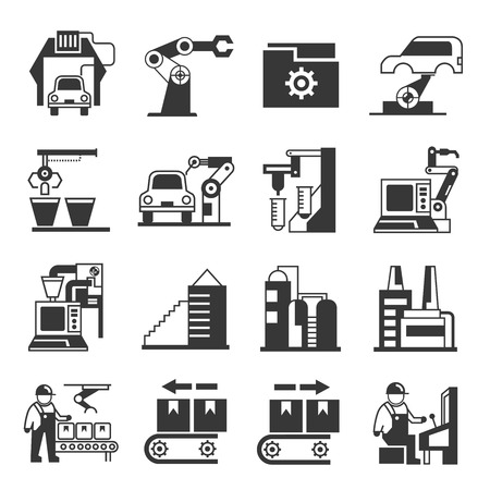 robot in production line icons, manufacturing icons