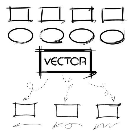 deletion: highlighter elements, circle, arrow, diagram elements Illustration