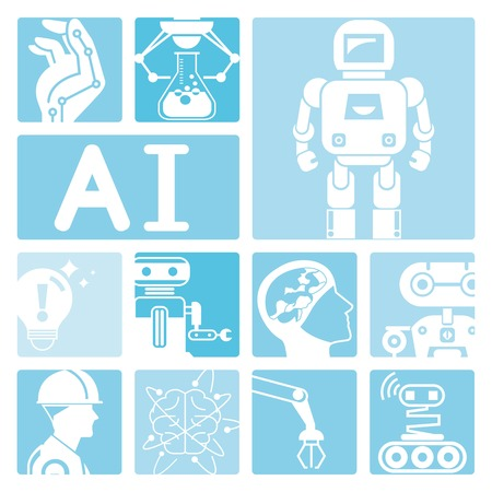artificial: robot icons, artificial intelligence